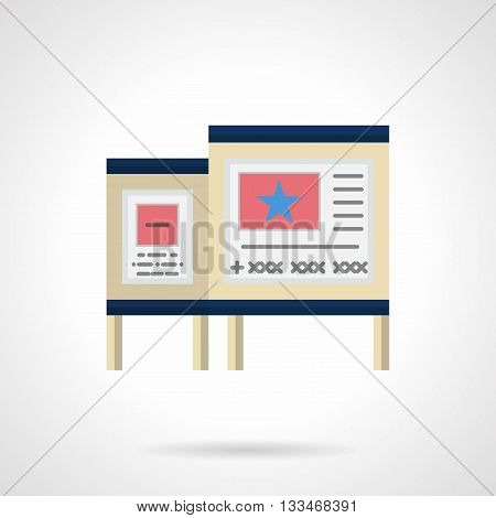 Advertise boards with colored promo ads. Outdoor advertisement elements and objects. Flat color style vector icon.