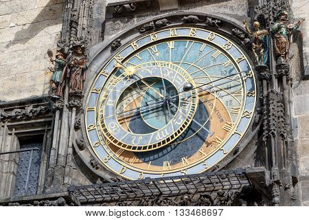 The astronomical clock on the tower of the City Hall in the old town square in Prague.