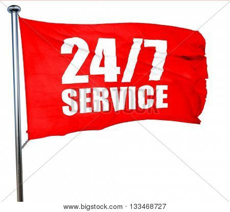 24/7 service, 3D rendering, a red waving flag
