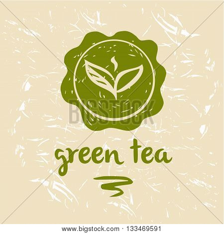 Green tea logo and package. Grange background. Silhouette of tea leaves. Hand-drawn symbol.