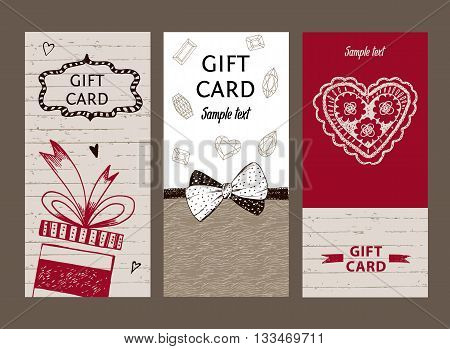 Set Of Gift Cards, Hand-drawn. Templates Gift Certificate To Sho