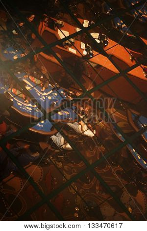 LAS VEGAS, USA - DECEMBER 23: The reflection of a poker table in the paneling of a casino and luxury hotel on December 23, 2015 in Las Vegas.