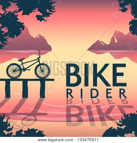 BMX bike riding poster with bicycle on pedestal and inscription over mountain lake at sunset vector illustration
