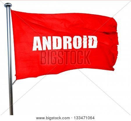 android, 3D rendering, a red waving flag