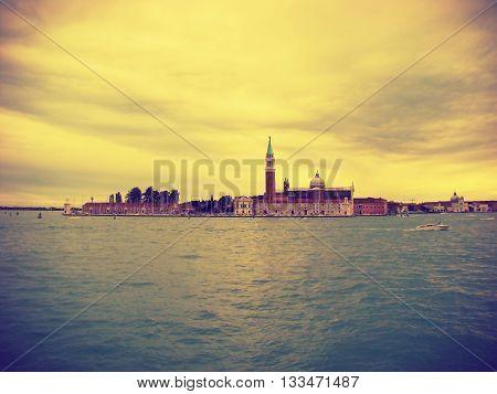 View of the San Giorgio di Maggiore from Piazza San Marco. Venice Venezia Italy Europe