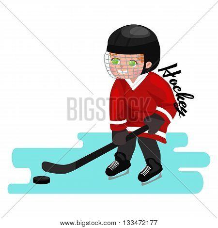 Happy Boy playing ice hockey, kids sport, children activity on white background