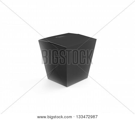 Closed black blank wok box mockup stand isolated 3d rendering. Asian take away food paper bag template.