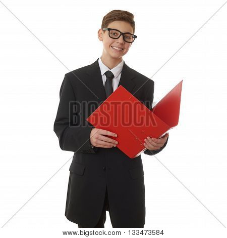 Cute teenager boy in back business suit with red folder over white isolated background, half body, future career concept