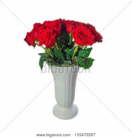 Red roses in a white vase isolated on white background. High flower pot with red large roses. Anniversary gift, holiday. Floral design.