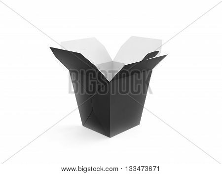 Opened blank meal box mockup stand isolated 3d rendering. Asian take away wok paper bag template. Black fastfood package.