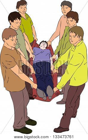 First aid - carry injured person on blanket. Vector