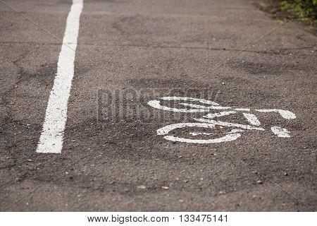 Separate Bicycle Lane Symbols On Asphalt