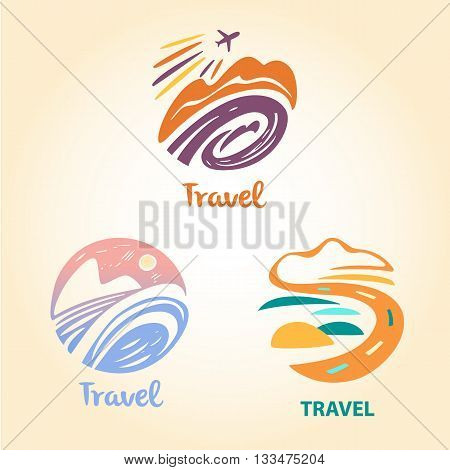 Set vector logo travel company. Tourist trip. The aircraft in the sky landscape. Hand-drawn logo in a circle.