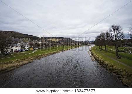 Looking along the River Tweed in Peebles Scotland