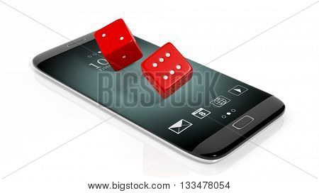 3D rendering of  two red dices on smartphone's screen, isolated on white.
