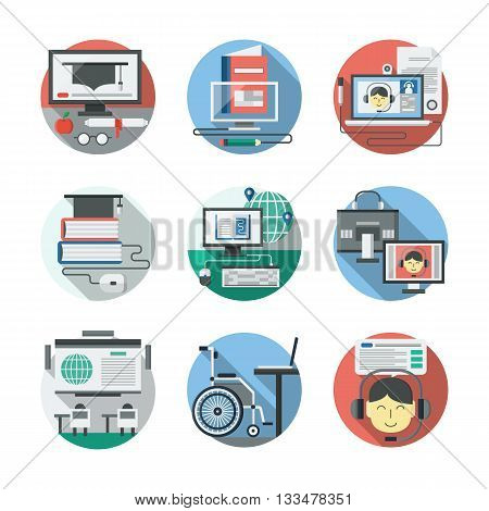 Concept of online education, video tutorials, online library. Distance learning theme. Web knowledge. Round detailed flat color vector icons set. Web design elements for business, site, mobile app.