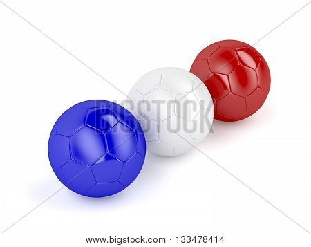 Three football balls with colors of national flag of France, 3D illustration