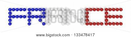 Text France from football balls with colors of national flag of France