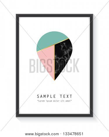 Framed geometric design with marble texture and gold detail