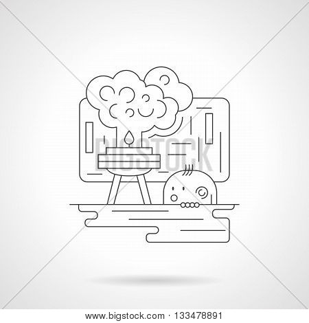Kid studying chemistry. Lab tool with smoke on beaker. Chemistry for children. School subjects. Science.  Detailed flat line vector icon. Web design elements for business, site, mobile app.