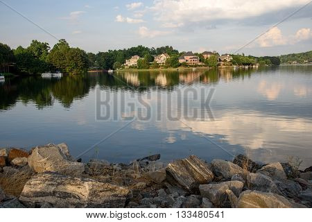Lakefront houses facing the sunset on the Atlanta suburbs