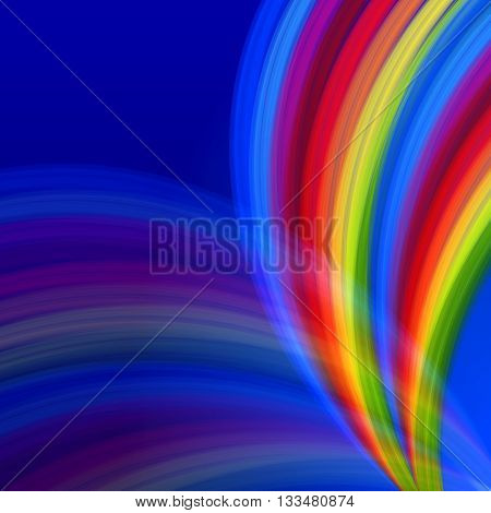 abstract multicolored rainbow lines like fountain over blue background