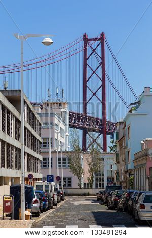 bridge the 25 april on river Tejo in european city Lisboa