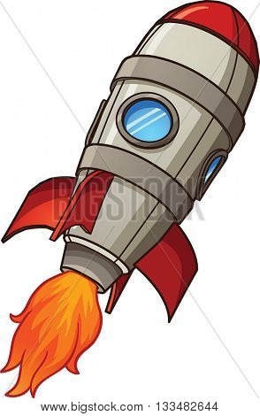 Cartoon retro space rocket. Vector clip art illustration with simple gradients. Rocket and fire on separate layers.