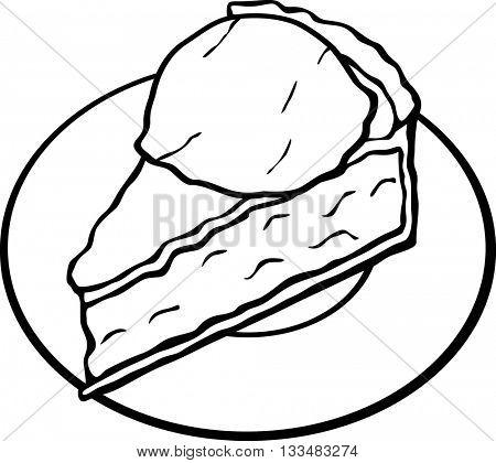 pie slice with ice cream ball