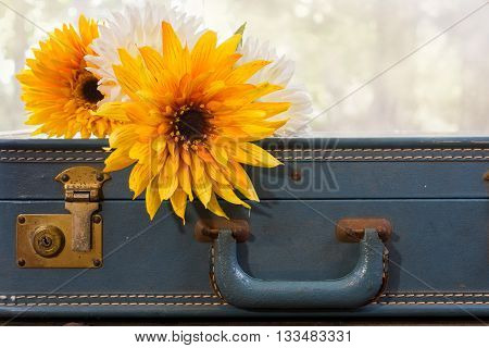 Large flowers laying on top of vintage blue suitcase