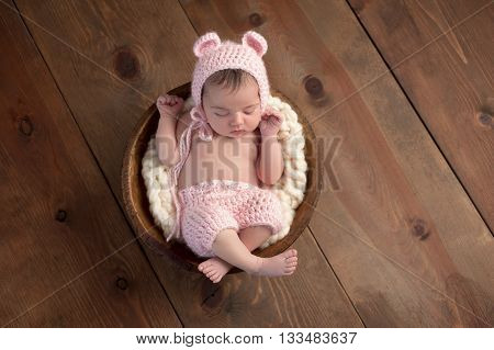 An overhead shot of a two week old newborn baby girl sleeping in a little wooden bowl. She is wearing a crocheted pink bear bonnet and matching shorts. Shot in the studio on a wood background.