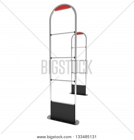 3D illustration, shoplifter scanner isolated on white background. Scanner entrance gate for prevent theft in shop or store. Security concept.