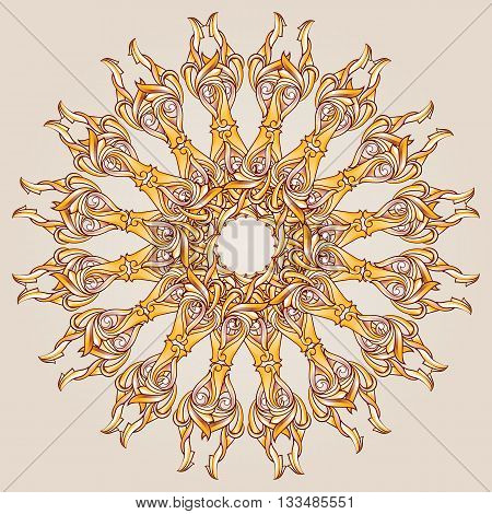 Patterned symmetrical circle on the light background.