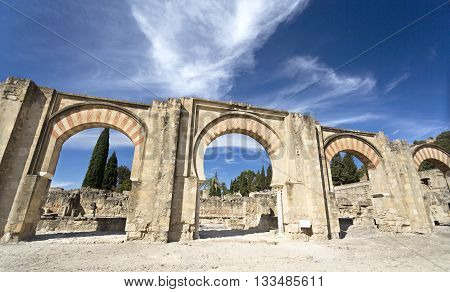 MEDINA AZAHARA, SPAIN - September  11, 2015: The Great Portico at Medina Azahara medieval palace-city near Cordoba on September  11, 2015 in Medina Azahara, Spain