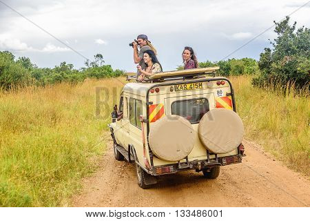 Kenya, Africa - March 7, 2016: Safari tours in  Masai Mara Park resort in Kenya, Africa