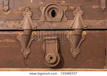 Close up of lock on old steamer trunk