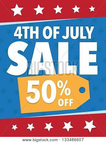 Holiday sale sign 4th of July - Save 50% poster