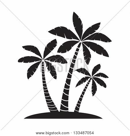 Black Palm Trees. Vector Illustration and Graphic Elements.