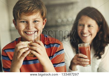 Mother Sandwich Kid Bread Caring Happy Health Concept