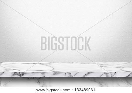 Empty white marble table with white gray gradient wall background. For display or montage your products.