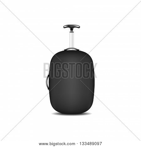 Travel suitcase in black design on white background
