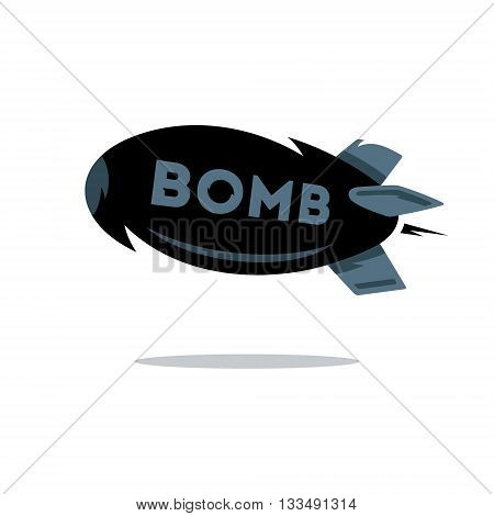 Flying black bomb Isolated on a white background