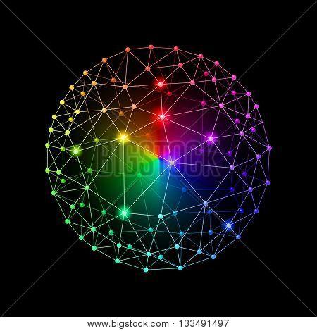 Multicolour web envelopes sphere on black background