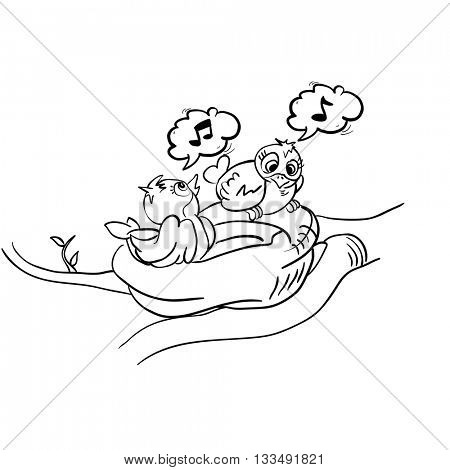 black and white birds in nest singing cartoon
