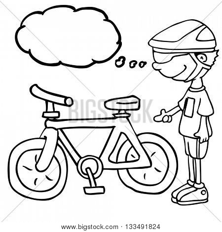 black and white boy with thought bubble and his bicycle cartoon