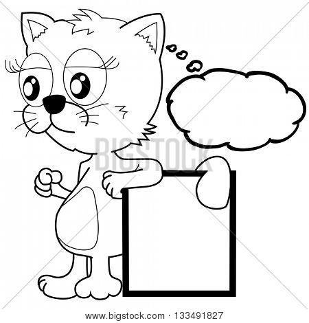 black and white cat with thought bubble and banner cartoon