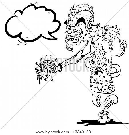 black and white devil ginnie with speech bubble cartoon