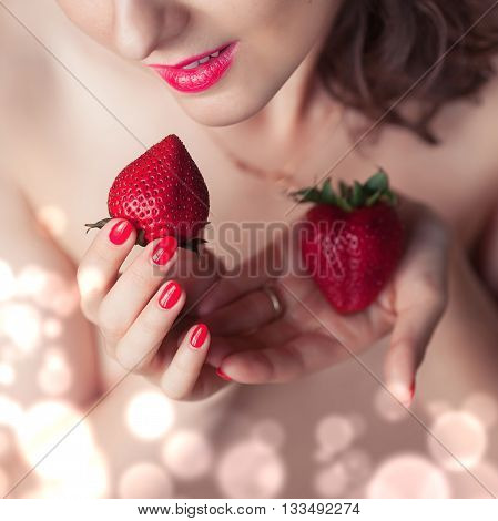 Photo Of Seductive Female Holding Strawberry Near Face Lips, Closeup Portrait Redhead Sensual Woman