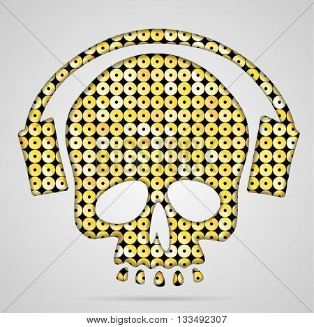 Silhouette of a skull and crossbones gold sequins with headphones.