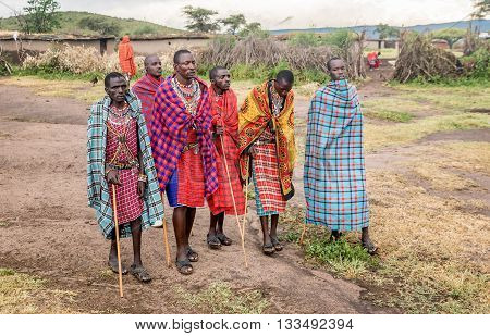 Kenya, Africa - March 7, 2016: Masai men tribe in Kenya Africa